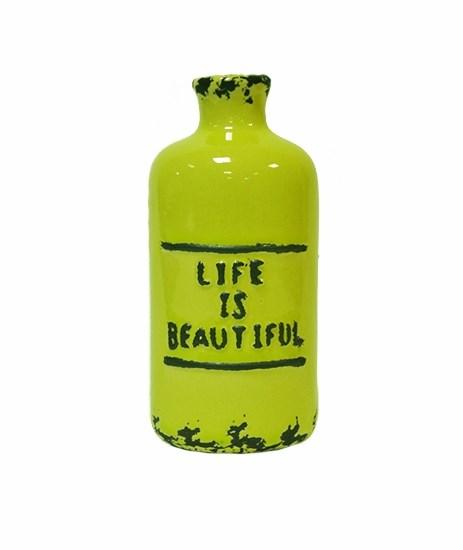 Бутылочка керамическая зеленая - фото 9671