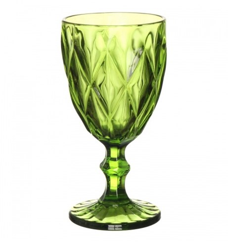 """Бокал """"Клетка"""" ярко-зеленый 300 мл из цветного стекла - фото 9684"""