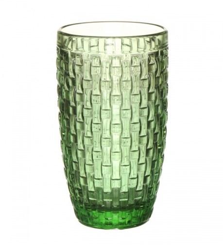 """Стакан """"Плетеный"""" зеленый из цветного стекла - фото 9690"""