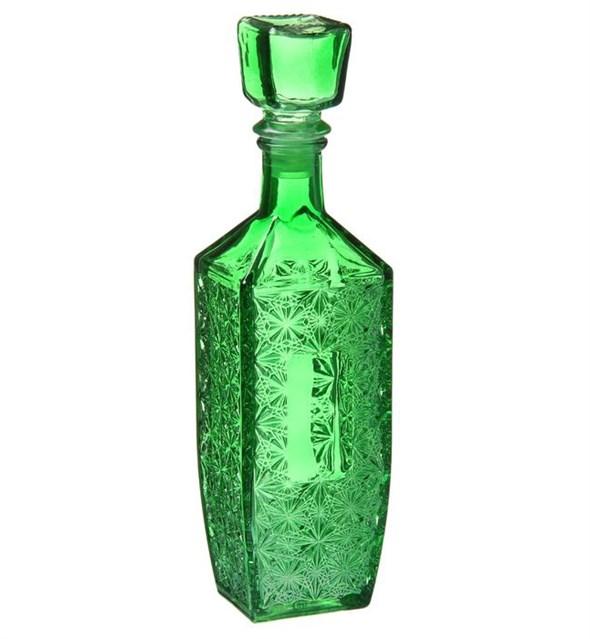 """Графин """"Резной"""" стеклянный зеленый 500 мл - фото 9716"""