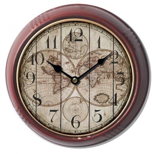 """Часы настенные """"Карта мира"""" металлические - фото 9875"""