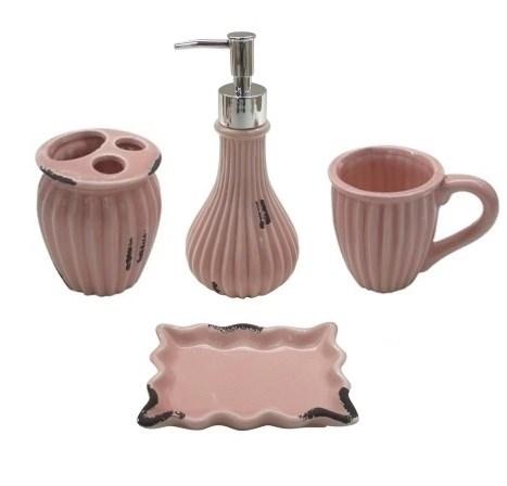"""Набор для ванной """"Винтаж"""" розовый: дозатор, мыльница, стакан для щеток, стакан - фото 9922"""