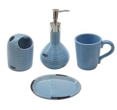 """Набор для ванной """"Винтаж"""" голубой: дозатор, мыльница, стакан для щеток, стакан - фото 9923"""