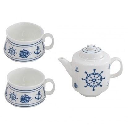 """Чайный набор """"Морской"""": чайник 450 мл и две кружки 200 мл, в ассортименте - фото 9952"""