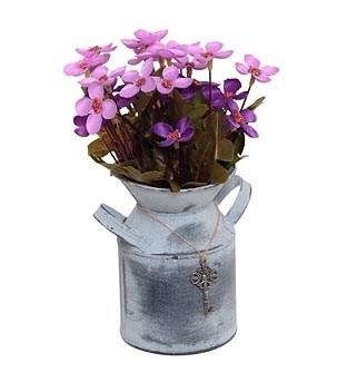 Цветок искусственный фиолетовый в металлическом кашпо - фото 9966