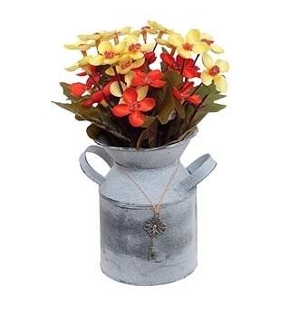 Цветок искусственный желто-красный в металлическом кашпо - фото 9967