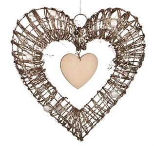 Сердце декоративное подвесное 30х26 см