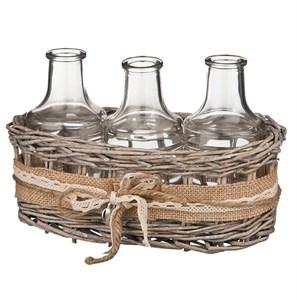 Набор бутылочек в корзинке