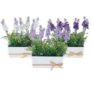 Цветок искусственный в белом кашпо в ассортименте, цена за 1 шт