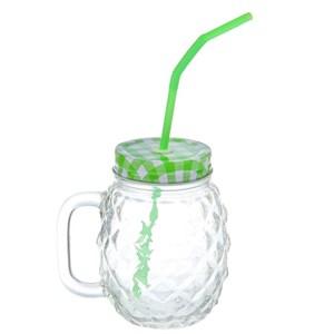 Кружка рифленая стеклянная с трубочкой 500 мл зеленая крышка