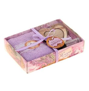 """Подарочный набор """"Лавандовое сердце"""": полотенце 30х30см, подвеска, аромамасло"""