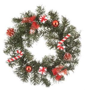 Венок новогодний с красными подарками, диаметр 25 см