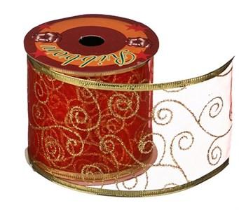 Лента новогодняя красная с рисунком 2,7 м