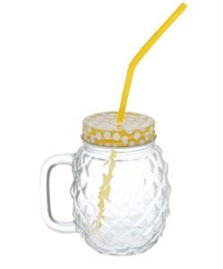Кружка рифленая стеклянная с трубочкой 500 мл желтая крышка