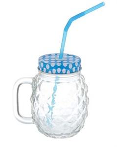 Кружка рифленая стеклянная с трубочкой 500 мл синяя крышка