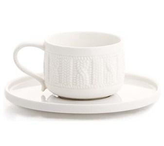 Чашка с блюдцем керамическая вязанная 220 мл