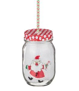 """Полотенце """"Дед Мороз"""" вафельное 35х50 см в стеклянной баночке с трубочкой"""