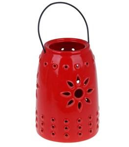 Подсвечник керамический красный с ручкой