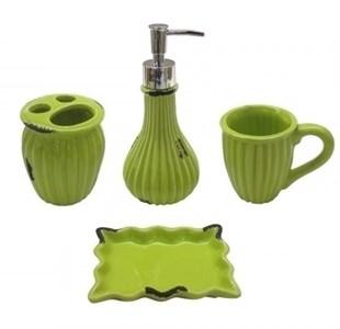 """Набор для ванной """"Винтаж"""" зеленый: дозатор, мыльница, стакан для щеток, стакан"""