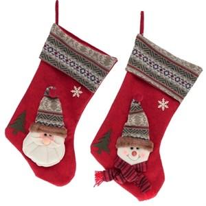 Новогодний носок для подарков красный в ассортименте