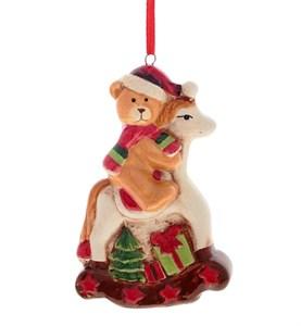 """Елочная игрушка """"Мишка на лошадке"""""""
