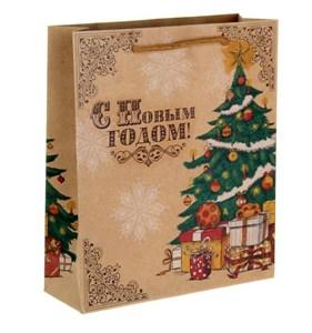 """Пакет крафтовый """"Новогодняя елка"""" 27х23 см"""