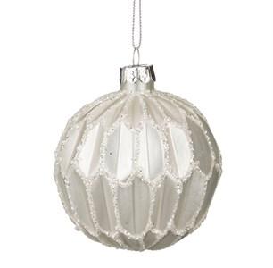 "Елочная игрушка ""Шар стеклянный серебристый рифленый"", диаметр 8 см"