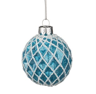 """Елочная игрушка """"Шар стеклянный синий"""", диаметр 6 см"""