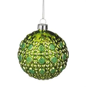 """Елочная игрушка """"Шар стеклянный зеленый"""", диаметр 8 см"""
