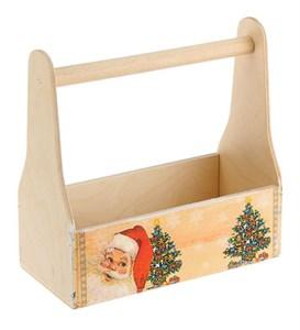 """Ящик деревянный """"Новогодний"""" с ручкой"""
