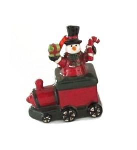 """Елочная игрушка """"Снеговик в поезде"""""""
