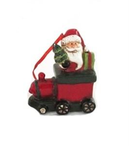 """Елочная игрушка """"Дед Мороз в поезде"""""""