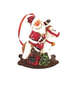"""Елочная игрушка """"Дед Мороз на лошадке"""""""