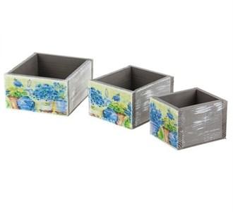 "Набор ящиков-коробок ""Голубые цветы"" 18х17, 15х14, 12х11 см"