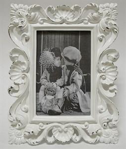Фоторамка резная белая для фотографии 10х15 см