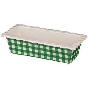 """Блюдо для сервировки и запекания керамическое  """"Зеленая клетка"""" 27х13 см"""