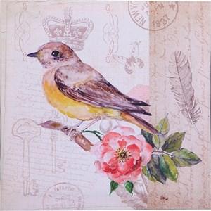 "Панно на холсте ""Птица с цветком"" 28х28 см"