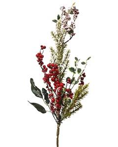 Ветка искусственная с листьями и ягодами