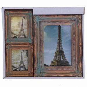 """Набор из трех фоторамок """"Винтаж"""" коричневых для фотографий 10х15 см, 6х9 см"""
