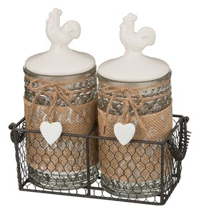 """Набор из двух баночек для хранения """"Петушки"""" 800 мл в металлической корзине"""