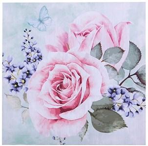 """Панно на холсте """"Букет с розами"""" 28х28 см"""