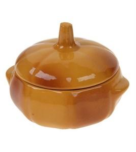 Горшочек для запекания керамический с крышкой 500 мл коричневый