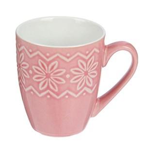 """Кружка """"Цветы"""" 350 мл розовая"""