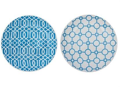 """Тарелка """"Синие узоры"""" диаметр 19 см, в ассортименте"""