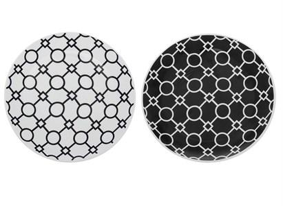 """Тарелка """"Черные узоры"""" диаметр 19 см, в ассортименте"""