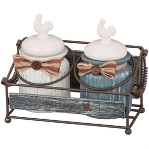 """Набор из двух баночек для хранения """"Петушки"""" в металлической корзине"""
