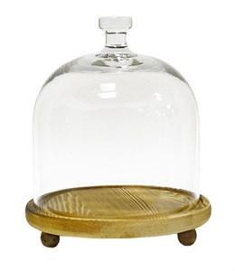 Стеклянный клош на деревянной подставке диаметр 18 см