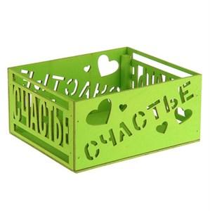 """Ящик деревянная """"Счастье"""" зеленый"""