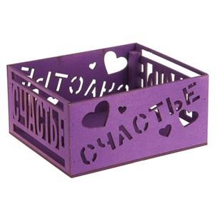 """Ящик деревянная """"Счастье"""" фиолетовый"""