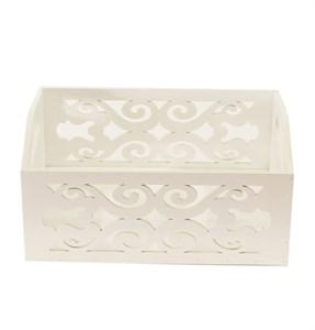 Ящик деревянный резной белый 24х17 см